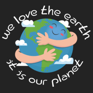 WE LOVE THE EARTH HOODIE  (BLACK) Design