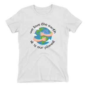 We Love The Earth Ladies Tee (White, Gray, Mustard) Thumbnail